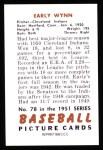 1951 Bowman Reprints #78  Early Wynn  Back Thumbnail