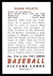 1951 Bowman Reprints #316   Duane Pillette Back Thumbnail