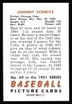 1951 Bowman Reprints #69  Johnny Schmitz  Back Thumbnail