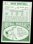 1968 Topps #82  Dave Whitsell  Back Thumbnail