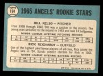 1965 Topps #194   -  Bill Kelso / Rick Reichardt Angels Rookies Back Thumbnail