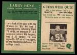 1966 Philadelphia #2  Larry Benz  Back Thumbnail