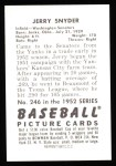 1952 Bowman Reprints #246  Jerry Snyder  Back Thumbnail