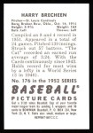 1952 Bowman Reprints #176  Harry Brecheen  Back Thumbnail