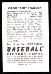 1952 Bowman Reprints #6  Red Stallcup  Back Thumbnail