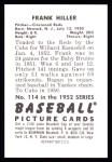 1952 Bowman Reprints #114  Frank Hiller  Back Thumbnail