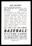 1952 Bowman Reprints #103  Joe Haynes  Back Thumbnail