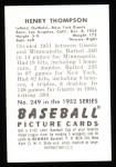 1952 Bowman Reprints #249  Hank Thompson  Back Thumbnail