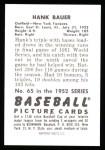 1952 Bowman Reprints #65  Hank Bauer  Back Thumbnail