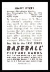 1952 Bowman Reprints #98  Jimmy Dykes  Back Thumbnail