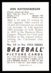 1952 Bowman Reprints #55  Ken Raffensberger  Back Thumbnail