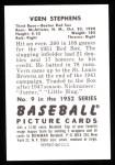 1952 Bowman Reprints #9  Vern Stephens  Back Thumbnail