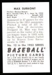 1952 Bowman Reprints #12  Max Surkont  Back Thumbnail