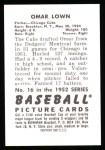 1952 Bowman Reprints #16  Omar Lown  Back Thumbnail