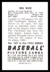 1952 Bowman Reprints #107  Del Rice  Back Thumbnail