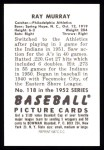 1952 Bowman Reprints #118  Ray Murray  Back Thumbnail