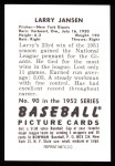 1952 Bowman Reprints #90  Larry Jansen  Back Thumbnail