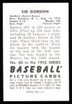 1952 Bowman Reprints #60  Sid Gordon  Back Thumbnail