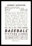 1952 Bowman Reprints #42  John Wyrostek  Back Thumbnail