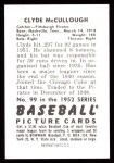 1952 Bowman Reprints #99  Clyde McCullough  Back Thumbnail