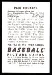 1952 Bowman Reprints #93  Paul Richards  Back Thumbnail