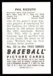 1952 Bowman Reprints #52  Phil Rizzuto  Back Thumbnail