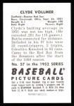 1952 Bowman Reprints #57  Clyde Vollmer  Back Thumbnail