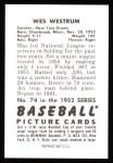 1952 Bowman Reprints #74  Wes Westrum  Back Thumbnail