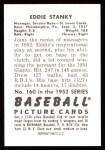 1952 Bowman Reprints #160   Eddie Stanky Back Thumbnail