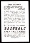 1952 Bowman Reprints #36  Cass Michaels  Back Thumbnail