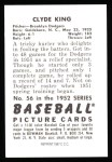 1952 Bowman Reprints #56  Clyde King  Back Thumbnail