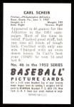 1952 Bowman Reprints #46  Carl Scheib  Back Thumbnail