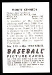 1952 Bowman Reprints #213  Monte Kennedy  Back Thumbnail