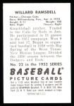 1952 Bowman Reprints #22  Willard Ramsdell  Back Thumbnail