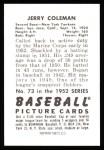 1952 Bowman Reprints #73  Jerry Coleman  Back Thumbnail