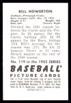 1952 Bowman Reprints #119  Bill Howerton  Back Thumbnail