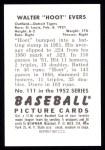 1952 Bowman Reprints #111  Hoot Evers  Back Thumbnail
