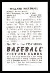 1952 Bowman Reprints #97  Willard Marshall  Back Thumbnail