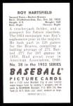 1952 Bowman Reprints #28  Roy Hartsfield  Back Thumbnail