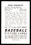 1952 Bowman Reprints #77  Eddie Robinson  Back Thumbnail
