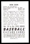 1952 Bowman Reprints #19  Bob Cain  Back Thumbnail