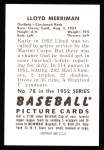 1952 Bowman Reprints #78  Lloyd Merriman  Back Thumbnail