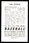 1952 Bowman Reprints #84  Sam Jethroe  Back Thumbnail