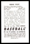 1952 Bowman Reprints #31  Eddie Yost  Back Thumbnail
