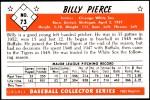 1953 Bowman Reprints #73  Bill Pierce  Back Thumbnail