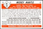 1953 Bowman Reprints #59  Mickey Mantle  Back Thumbnail