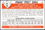 1953 Bowman Reprints #141  Frank Shea  Back Thumbnail
