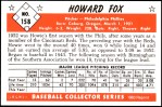 1953 Bowman Reprints #158   Howard Fox Back Thumbnail