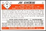 1953 Bowman Reprints #6  Joe Ginsberg  Back Thumbnail