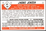 1953 Bowman Reprints #24  Jackie Jensen  Back Thumbnail